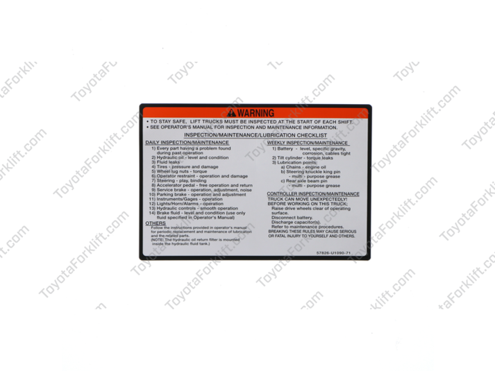 Service Indicator Warning Plate