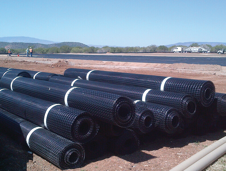 Geogrid rolls stacked