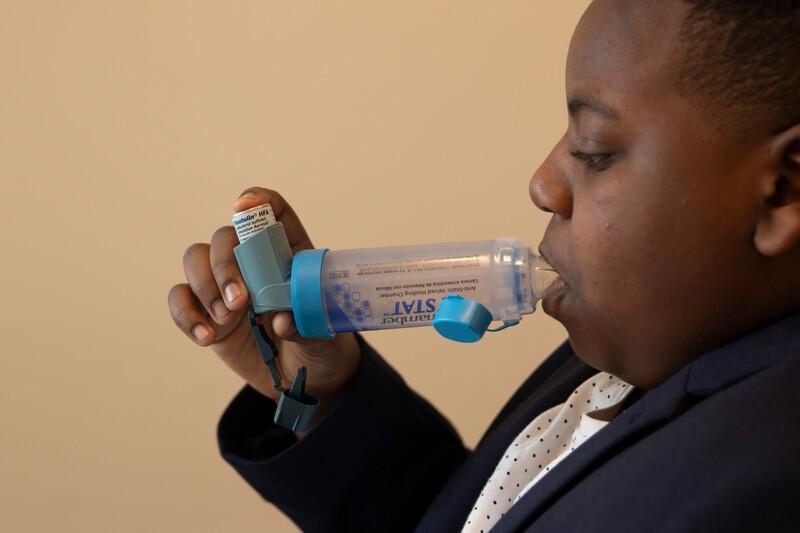 photo illustration for pediatric inhaler instructions.