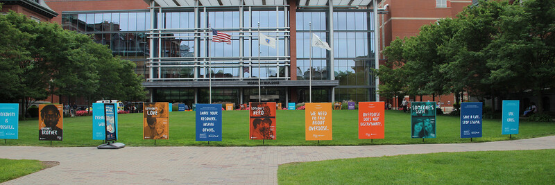 Recovery month banners on Moakley Lawn