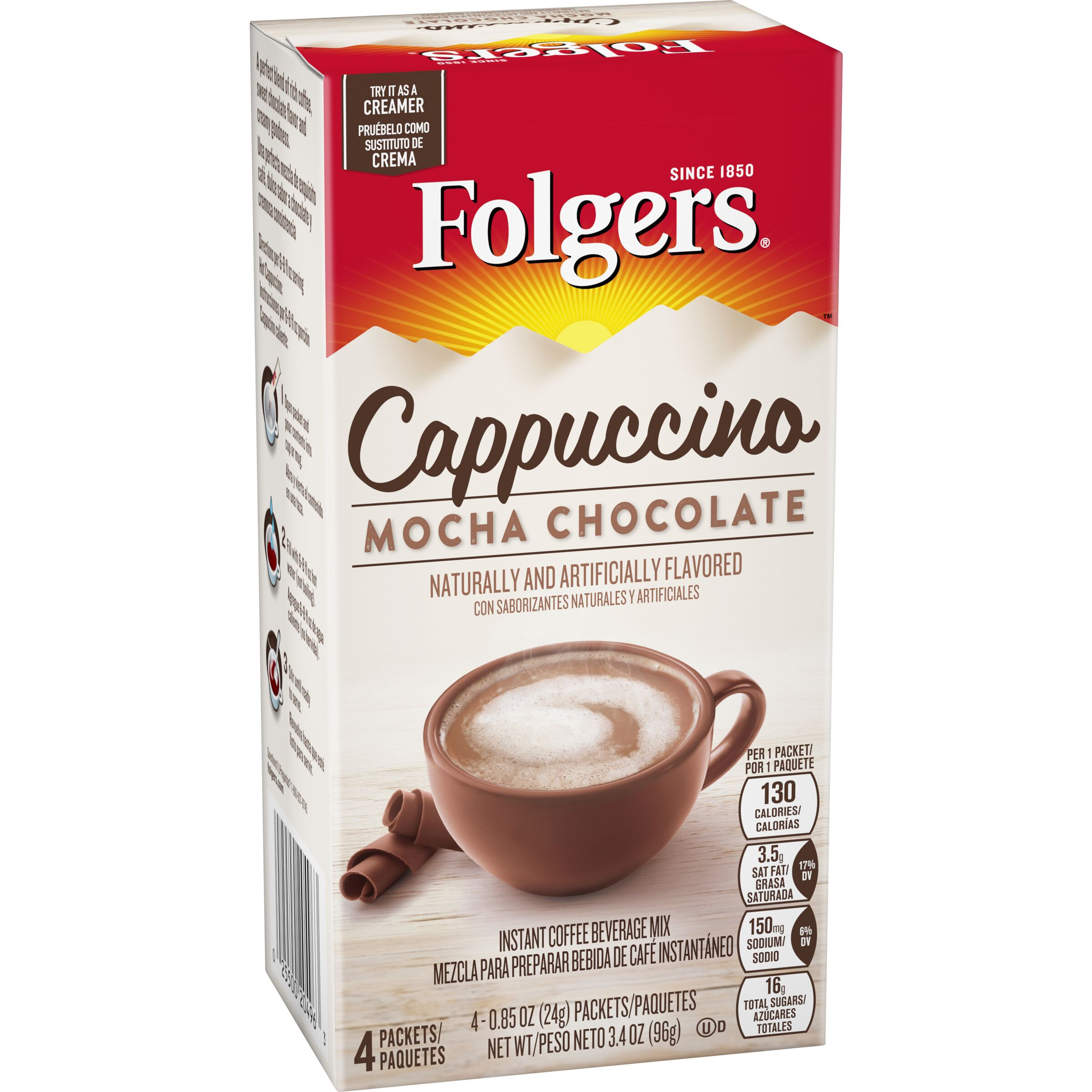 Folgers Cappuccinos Mocha Chocolate Flavored Cappuccino Mix Packets