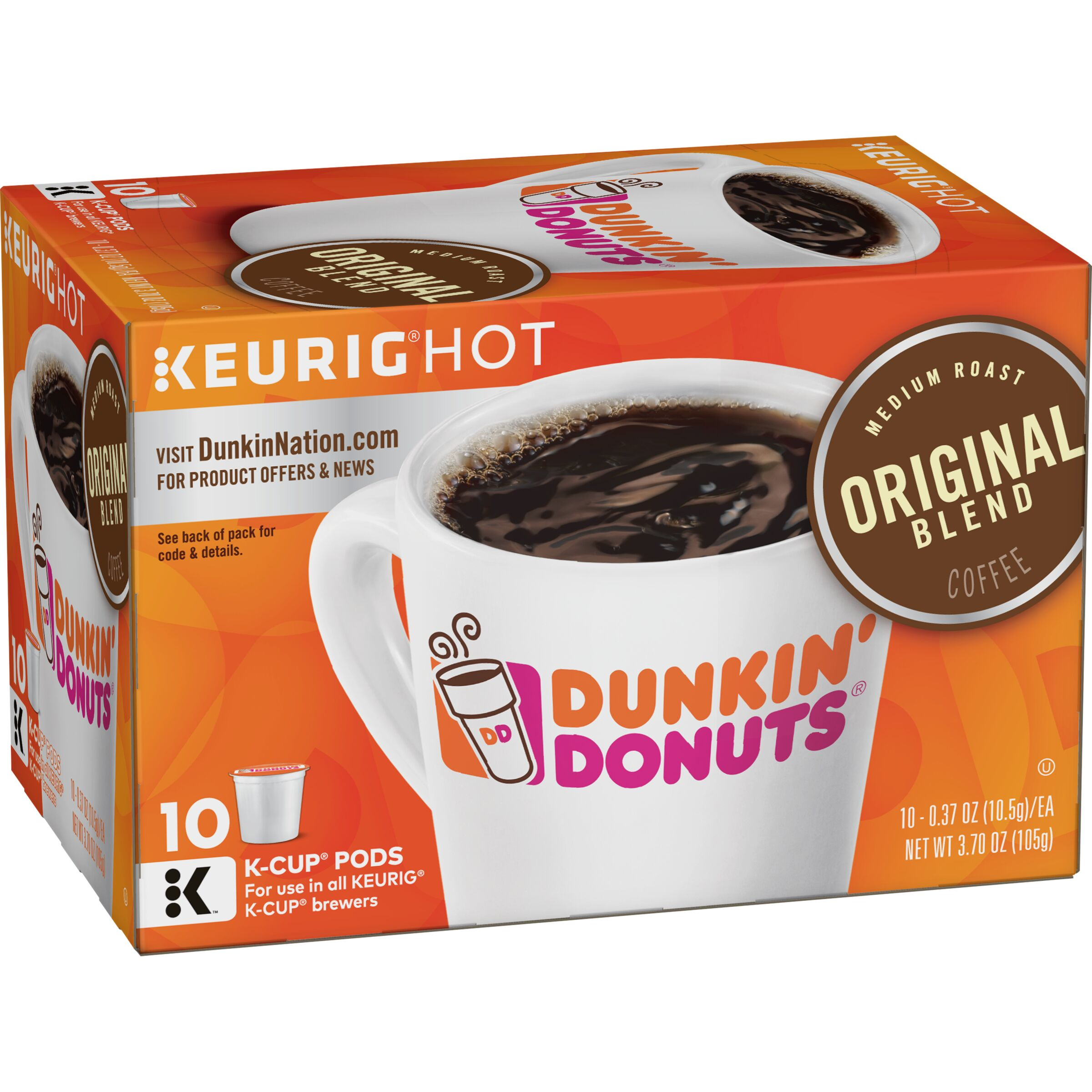 Dunkin' Donuts<sup>&reg;</sup>  Original Blend K-Cup Pods, 10 Count
