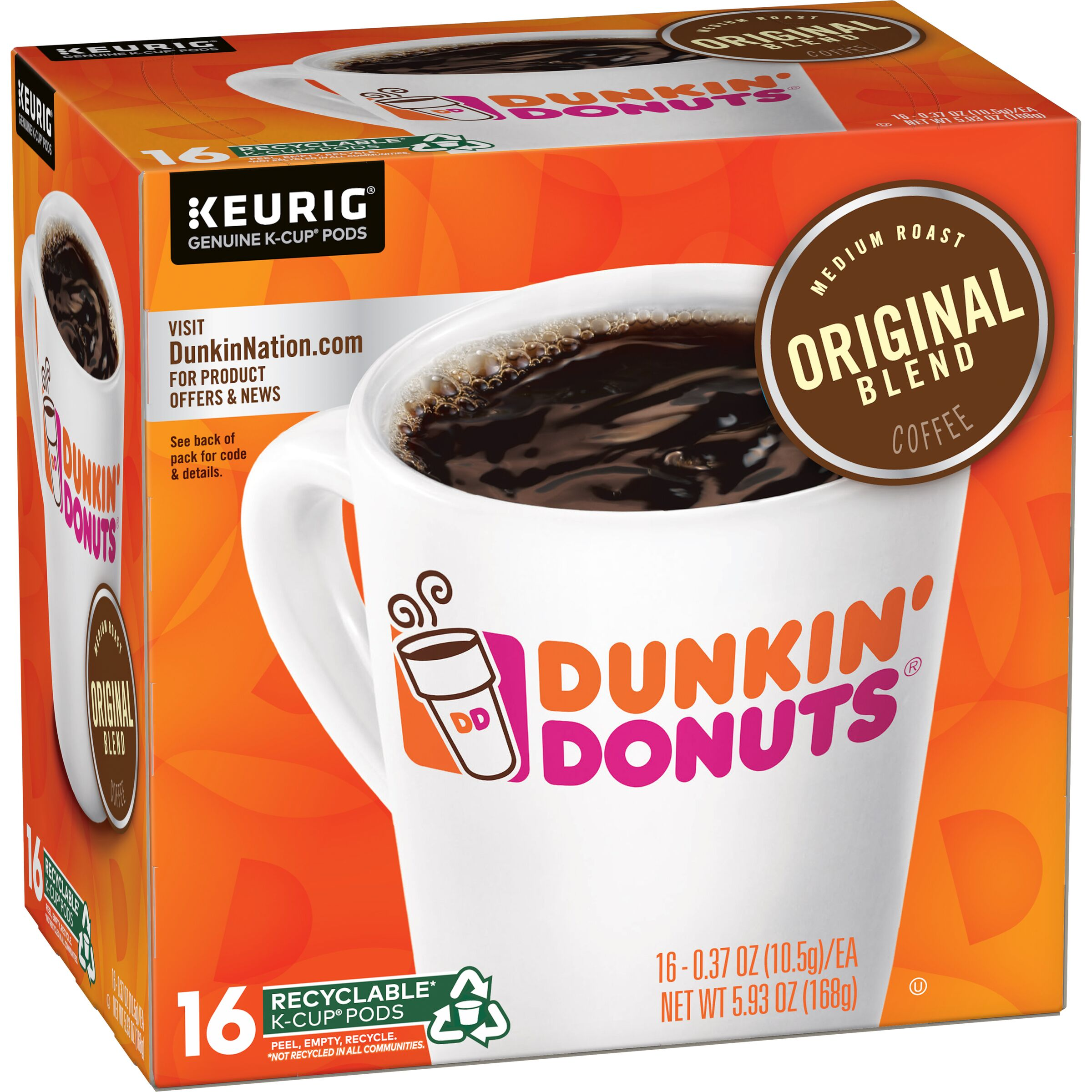 Dunkin' Donuts<sup>®</sup>  Original Blend K-Cup Pods, 16 Count