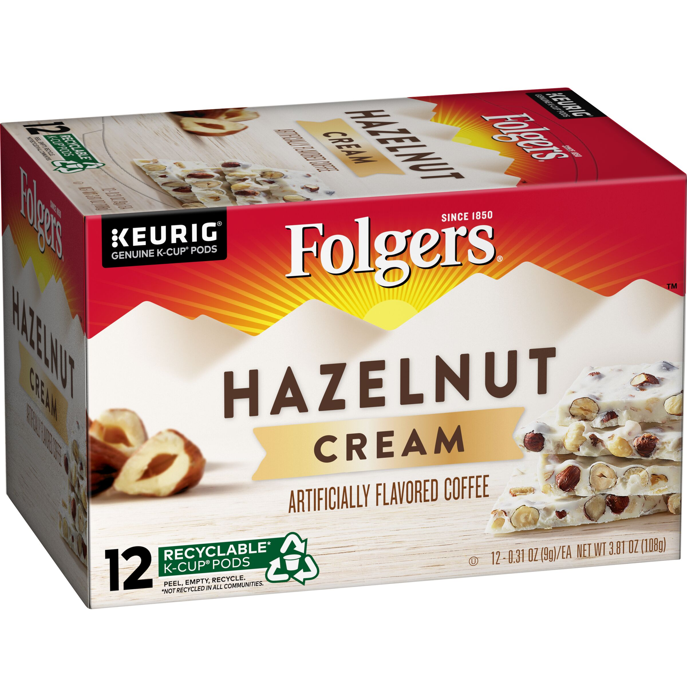 Folgers<sup>®</sup>  Hazelnut Cream Flavored Coffee K-Cup Pods, 12 count