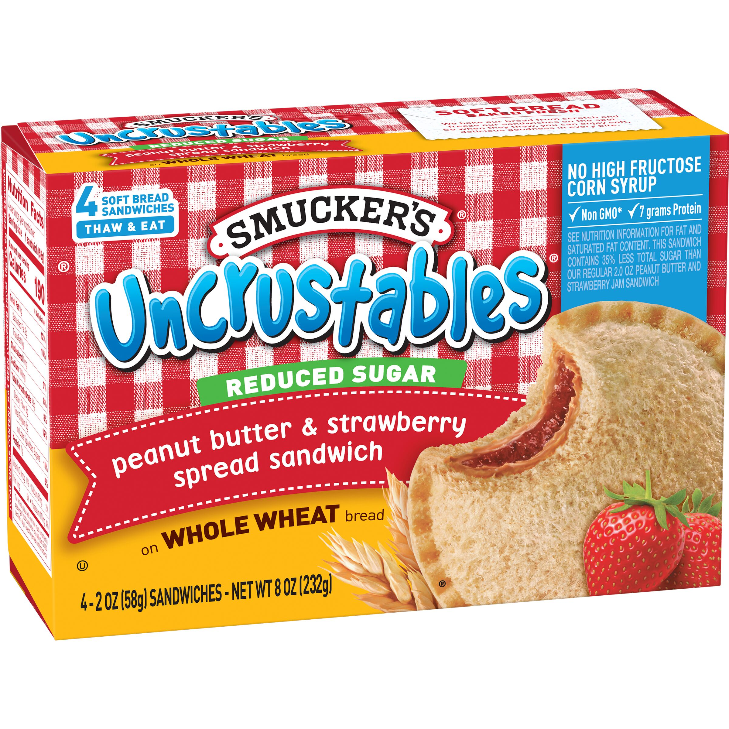 Smucker's<sup>&reg;</sup> Uncrustables Reduced Sugar Peanut Butter & Strawberry Spread Sandwich on Whole Wheat