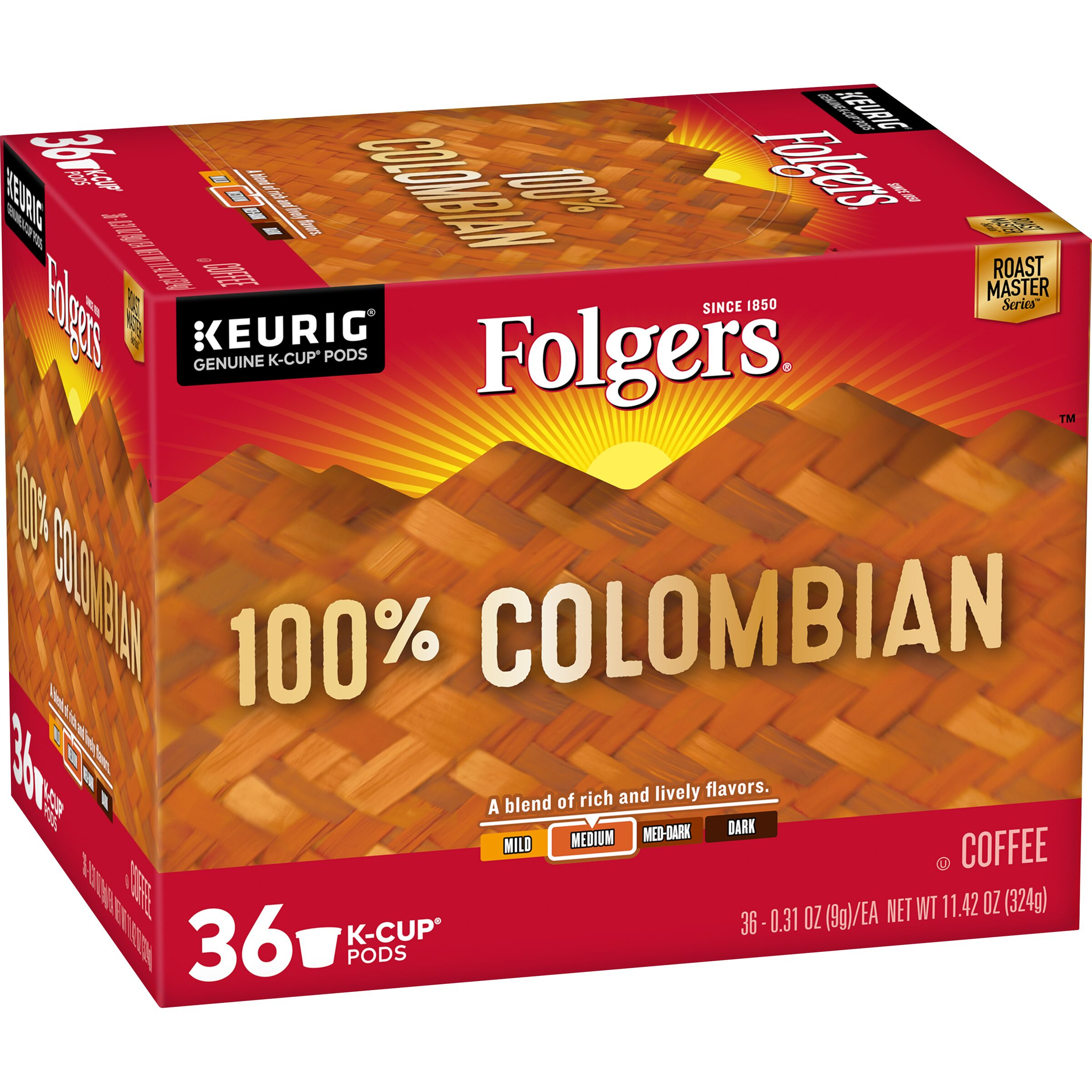 Folgers<sup>®</sup>  100% Colombian Coffee K-Cup® Pods, 36 Count