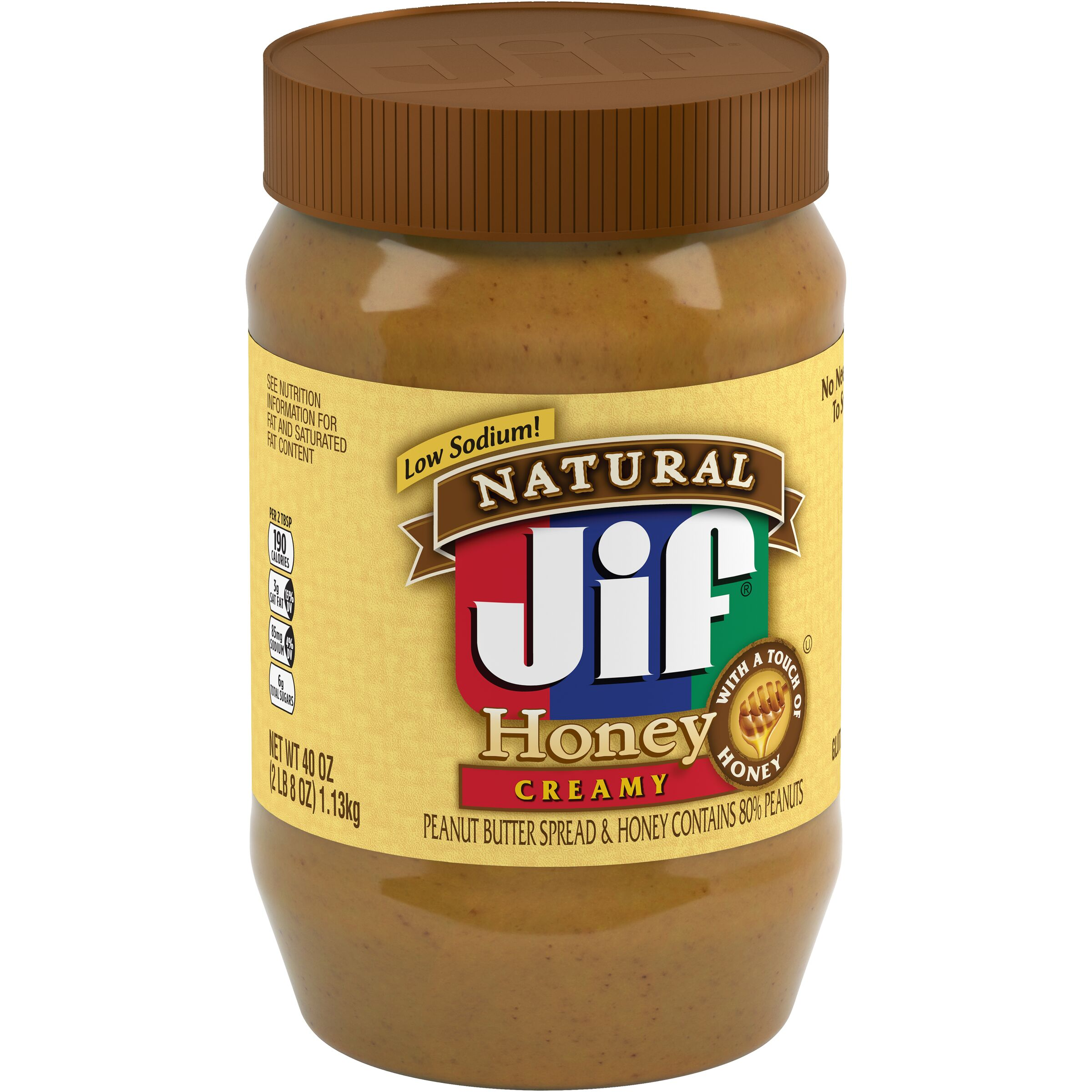 Jif Natural Creamy Peanut Butter Spread & Honey Contains 80% Peanuts