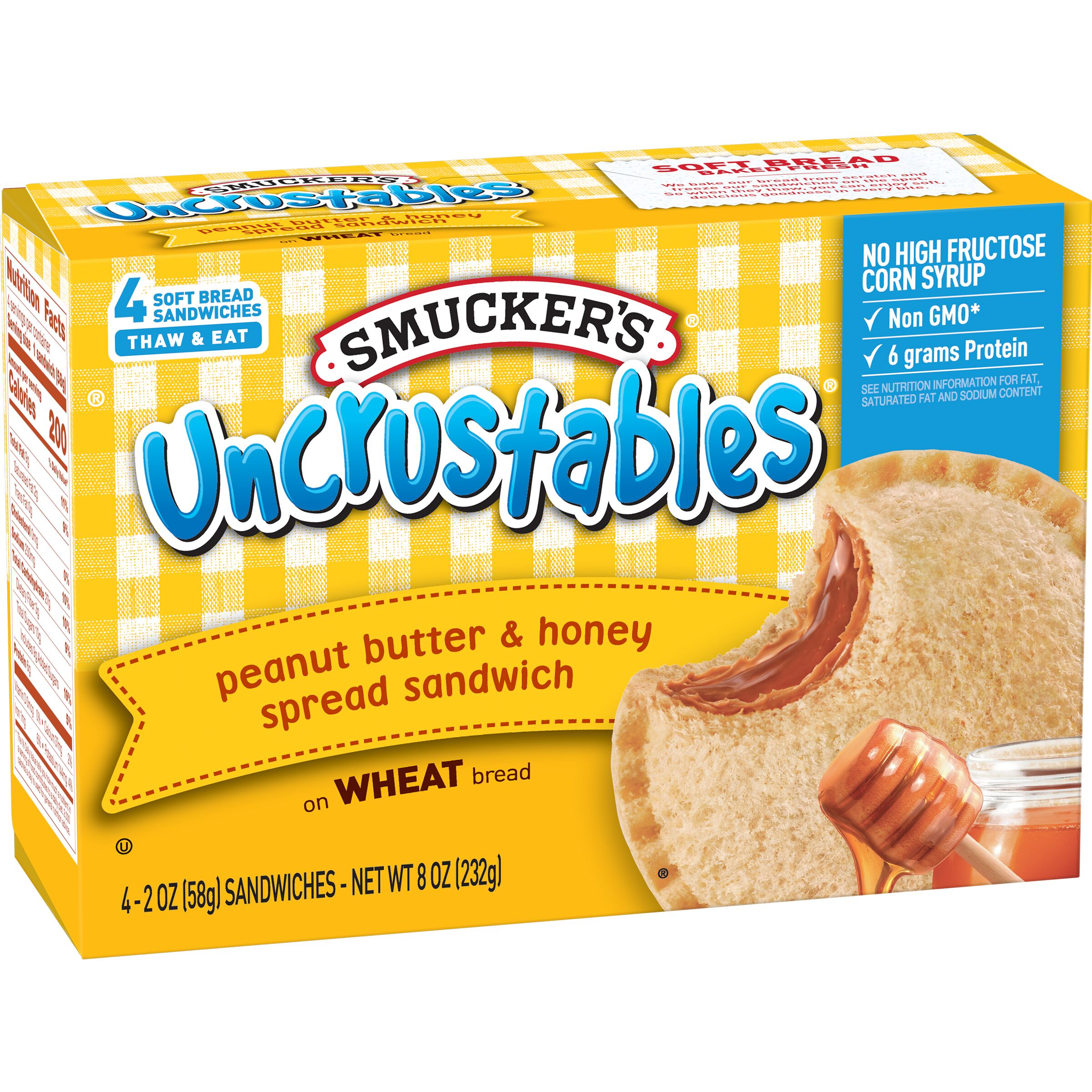 Smucker's Uncrustables Peanut Butter & Honey Spread Sandwich on Whole Wheat