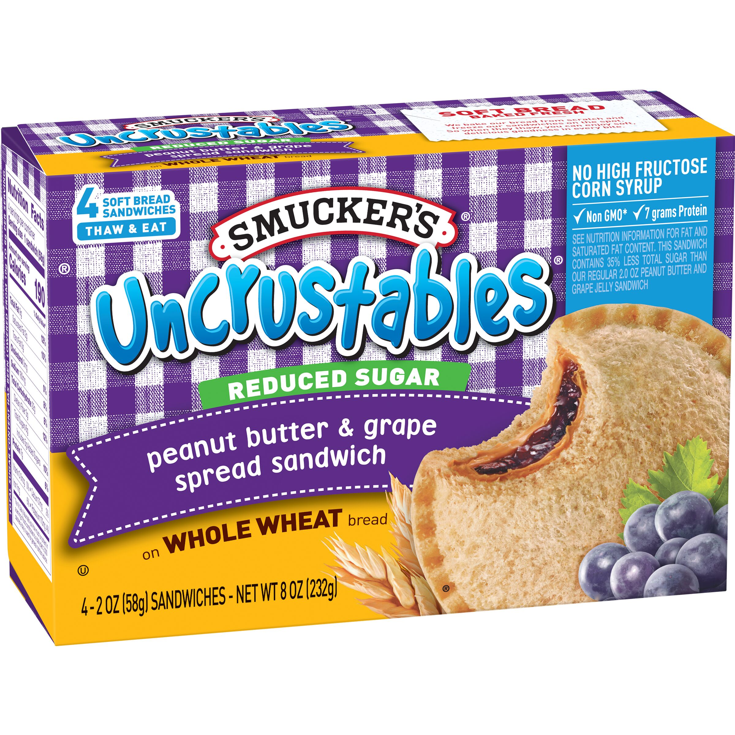 Smucker's Uncrustables Reduced Sugar Peanut Butter & Grape Spread Sandwich on Whole Wheat