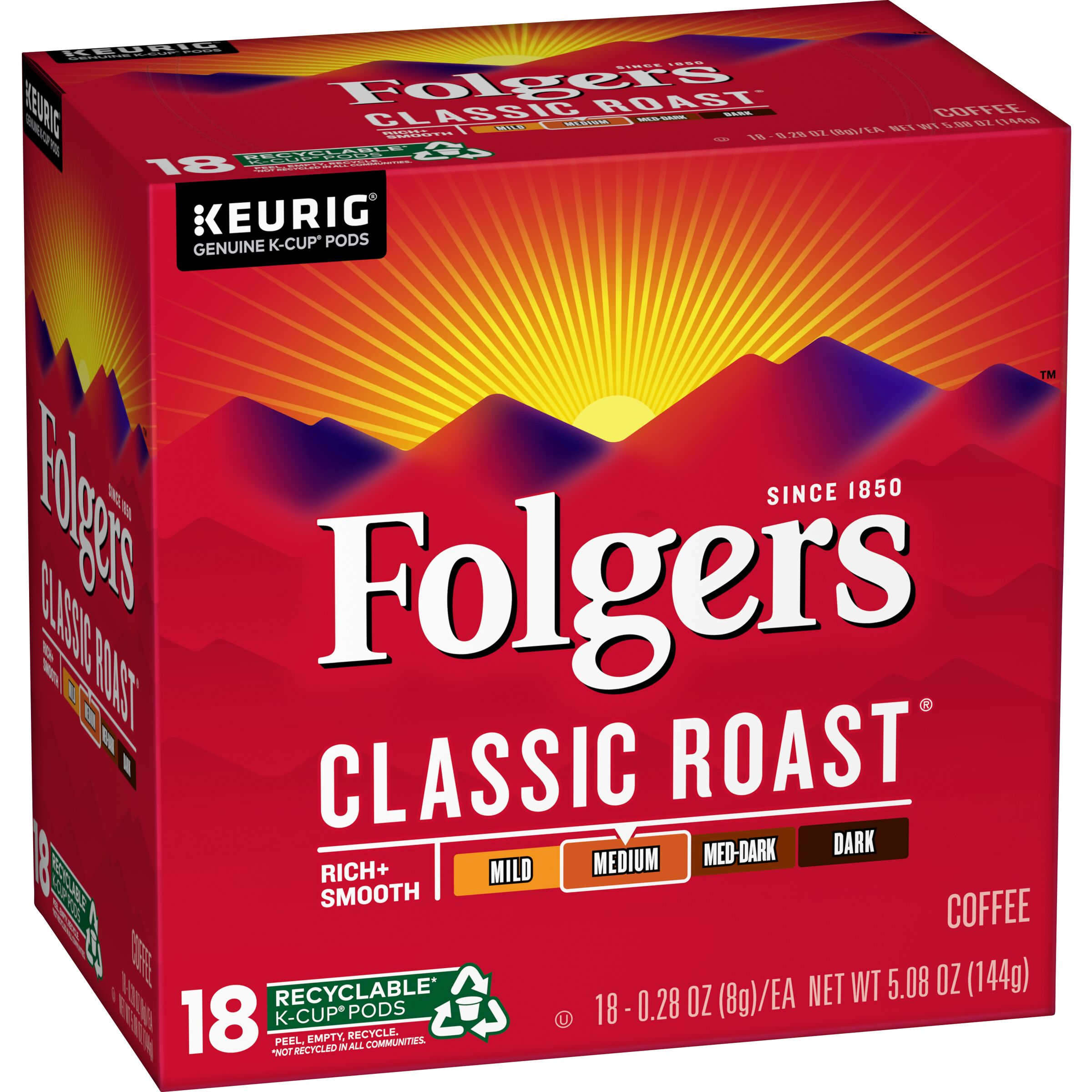 Folgers  Classic Roast® Coffee K-Cup® Pods, 18 Count