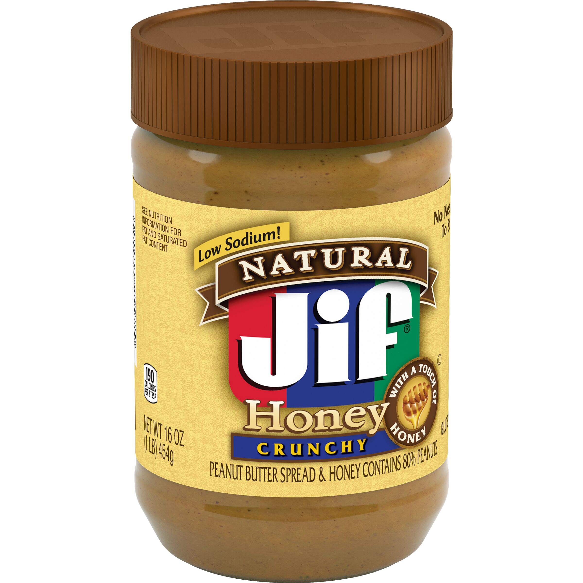 Jif<sup>&reg;</sup> Natural Crunchy Peanut Butter Spread & Honey Contains 80% Peanuts