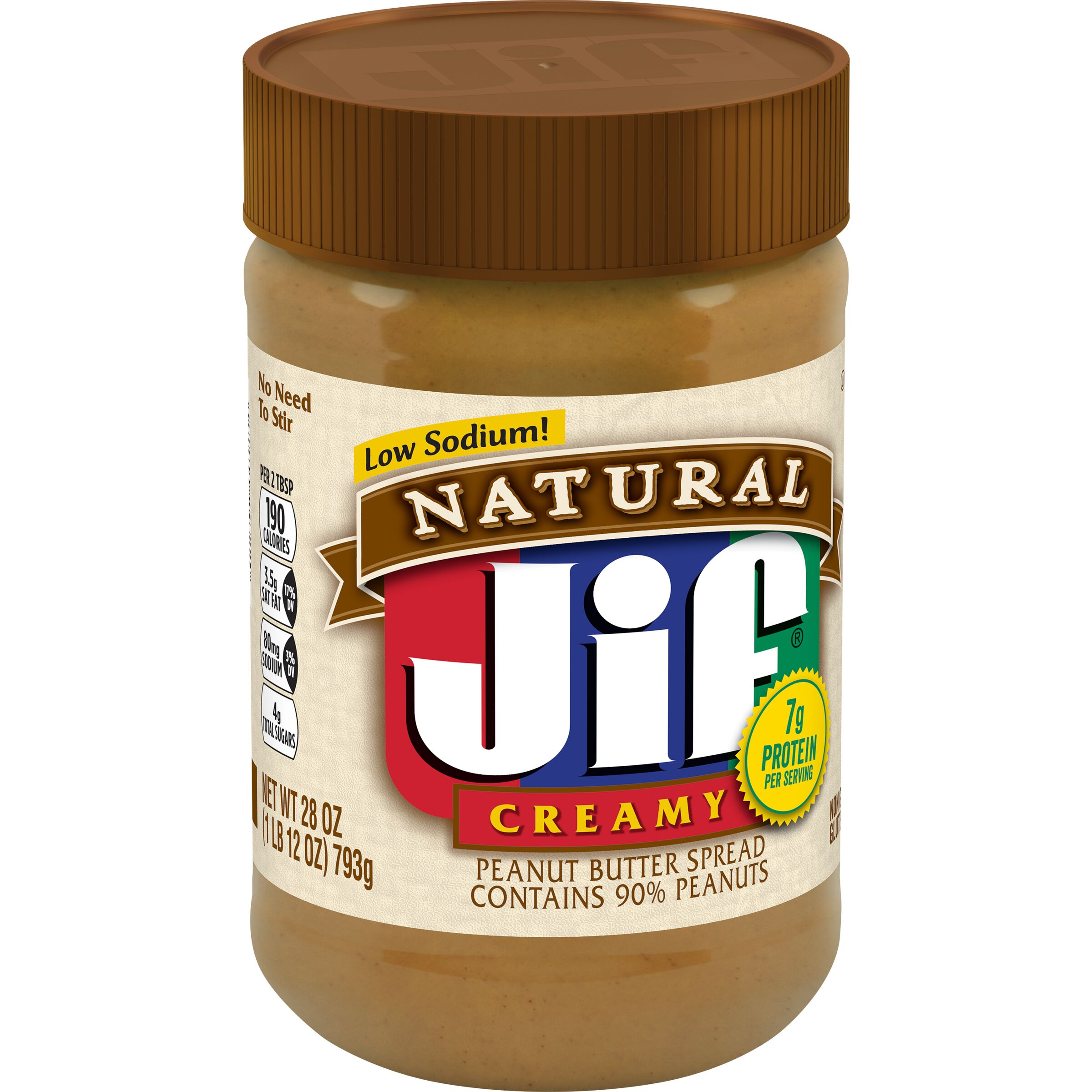 Jif Natural Natural Creamy Peanut Butter Spread Contains 90% Peanuts
