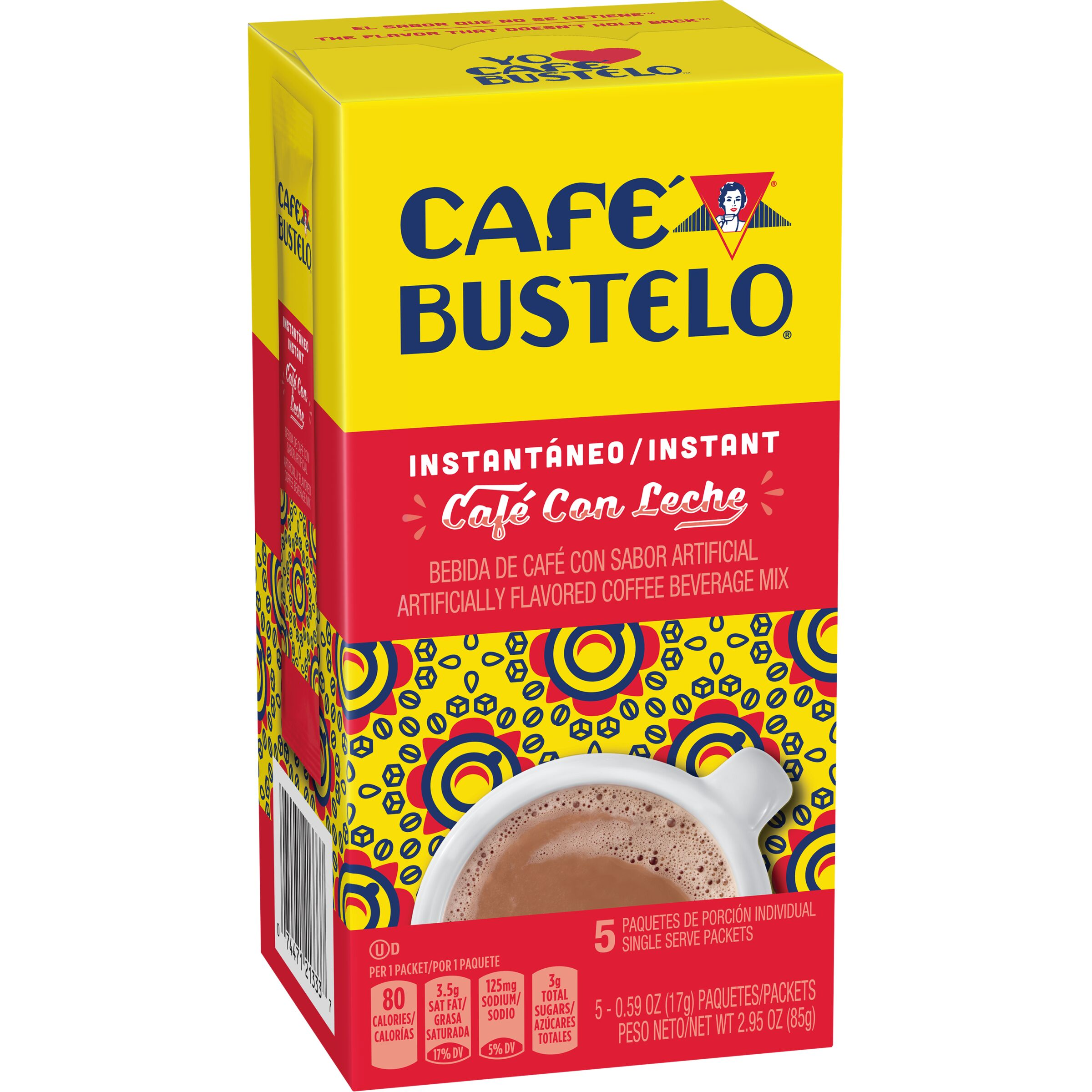 Cafe Bustelo  Café con Leche Instant Sticks, 5 Count