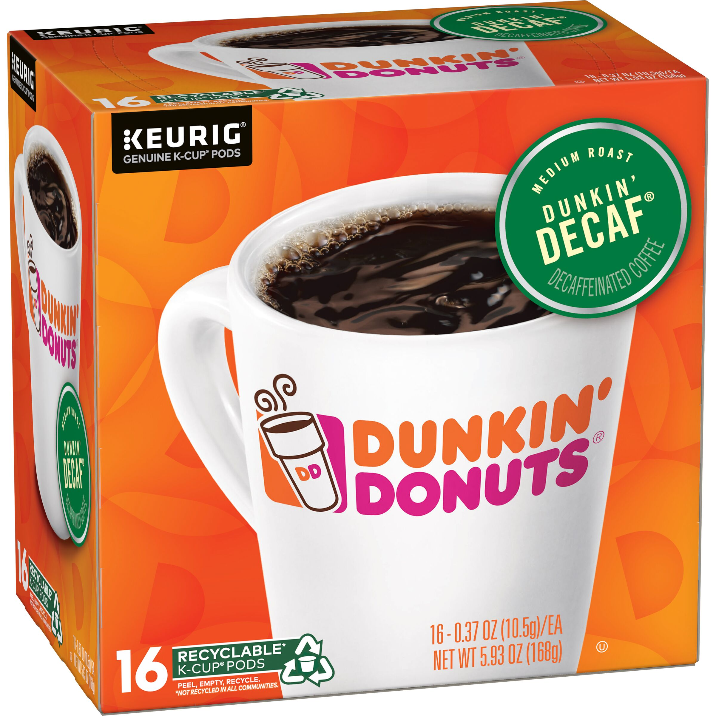 Dunkin' Donuts  Dunkin' Decaf K-Cup Pods, 16 Count
