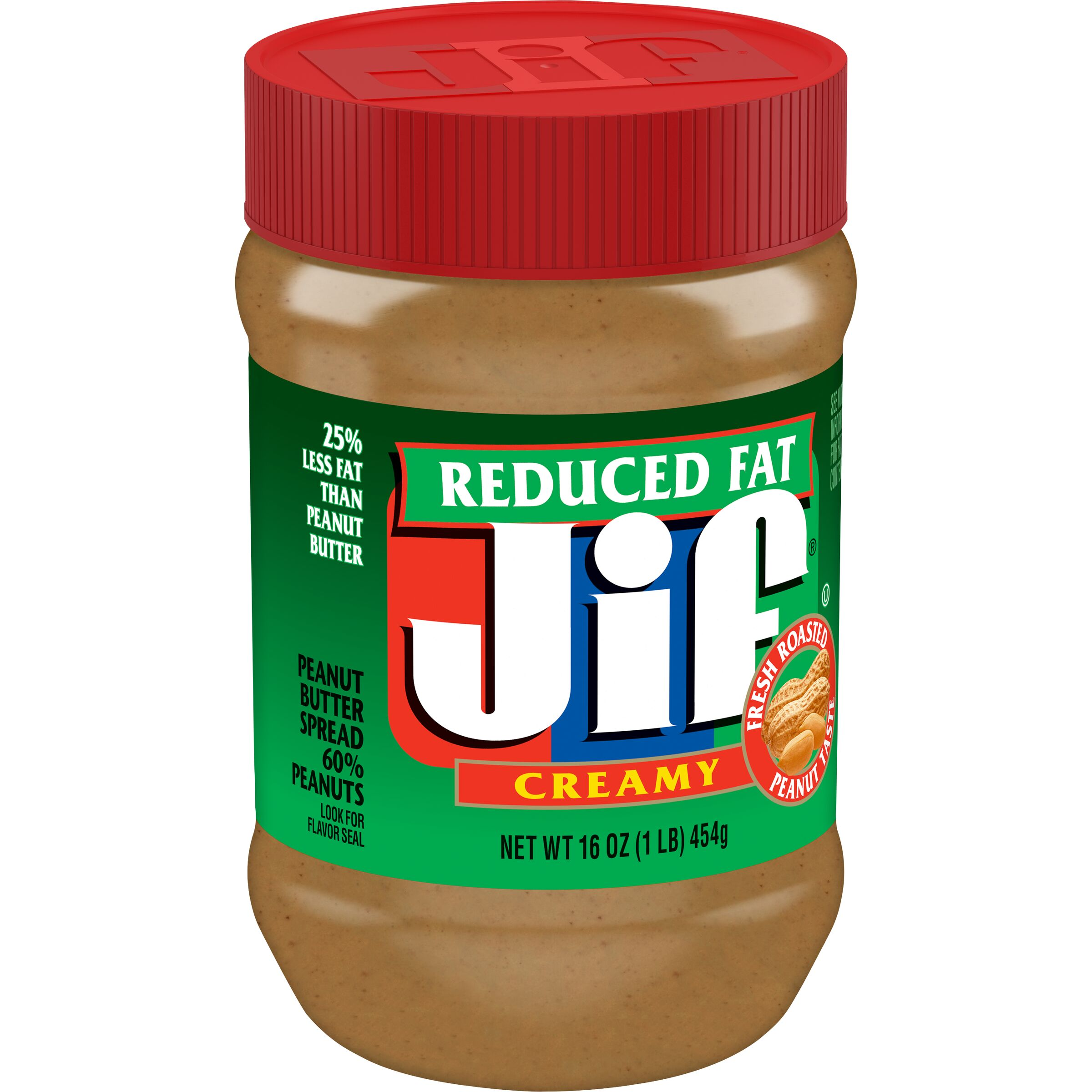 Jif  Reduced Fat Creamy Peanut Butter Spread Contains 60% Peanuts
