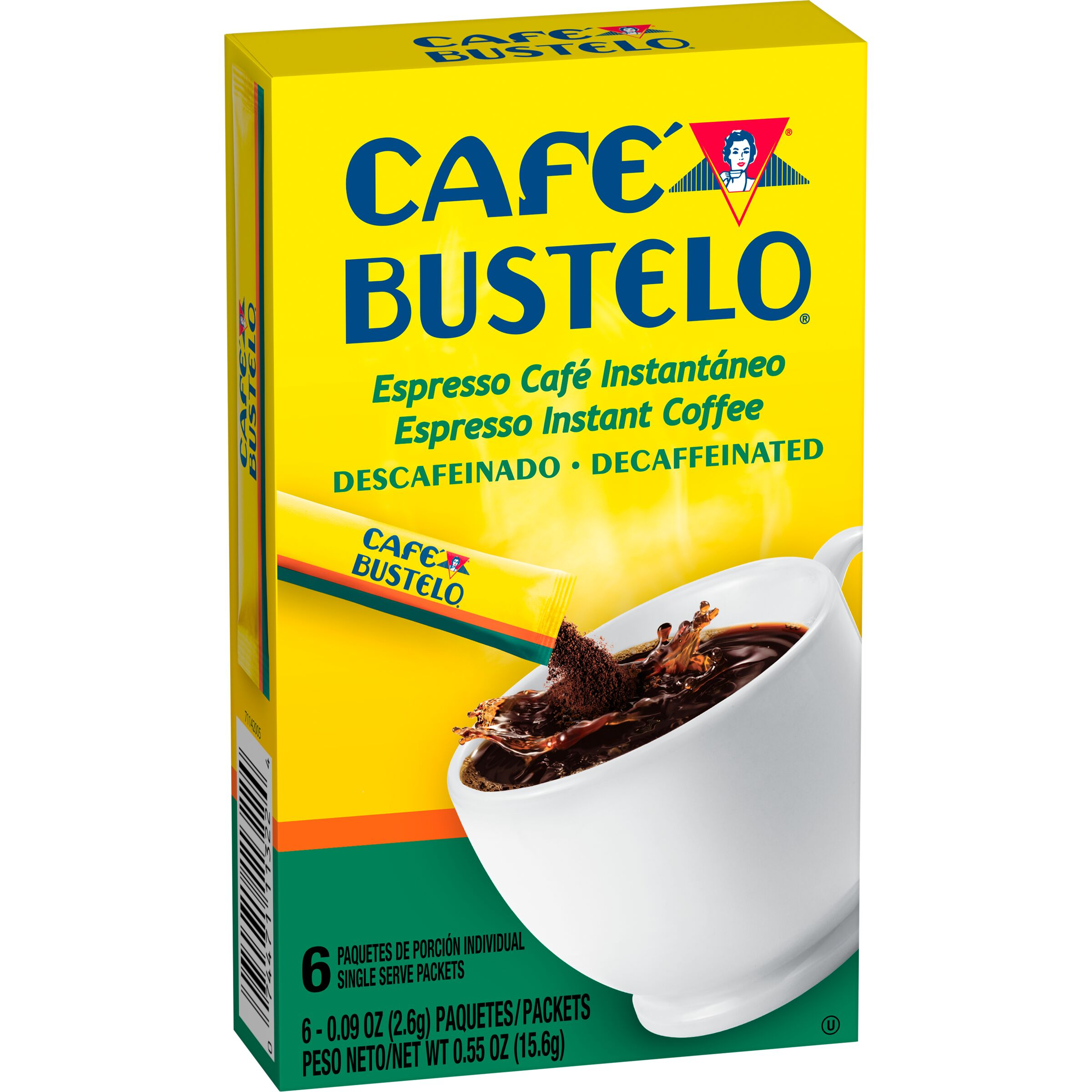 Cafe Bustelo  Decaf Espresso Instant Coffee Single Serve Packets, 6 Count