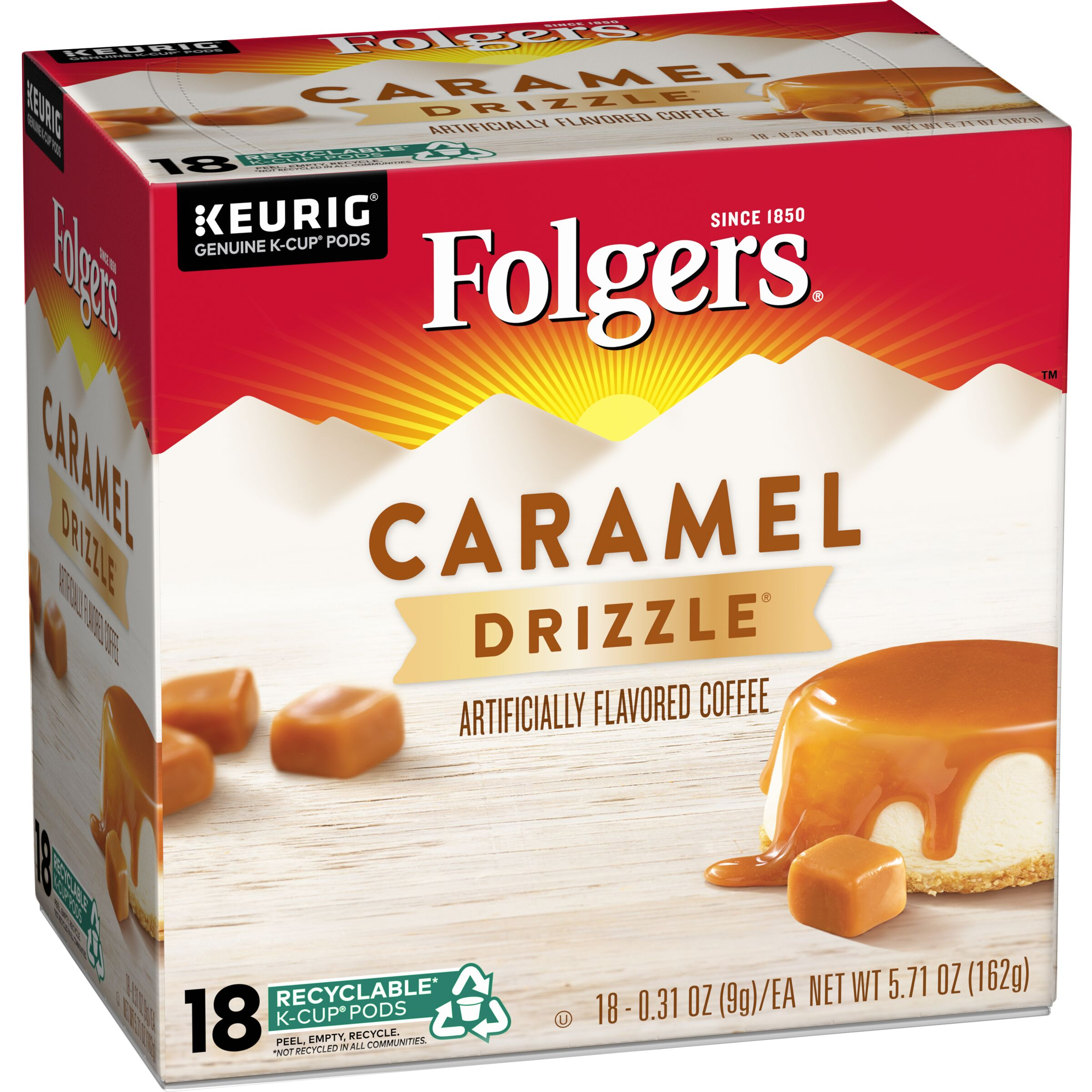 Folgers  Caramel Drizzle Flavored Coffee K-Cup® Pods, 18 count