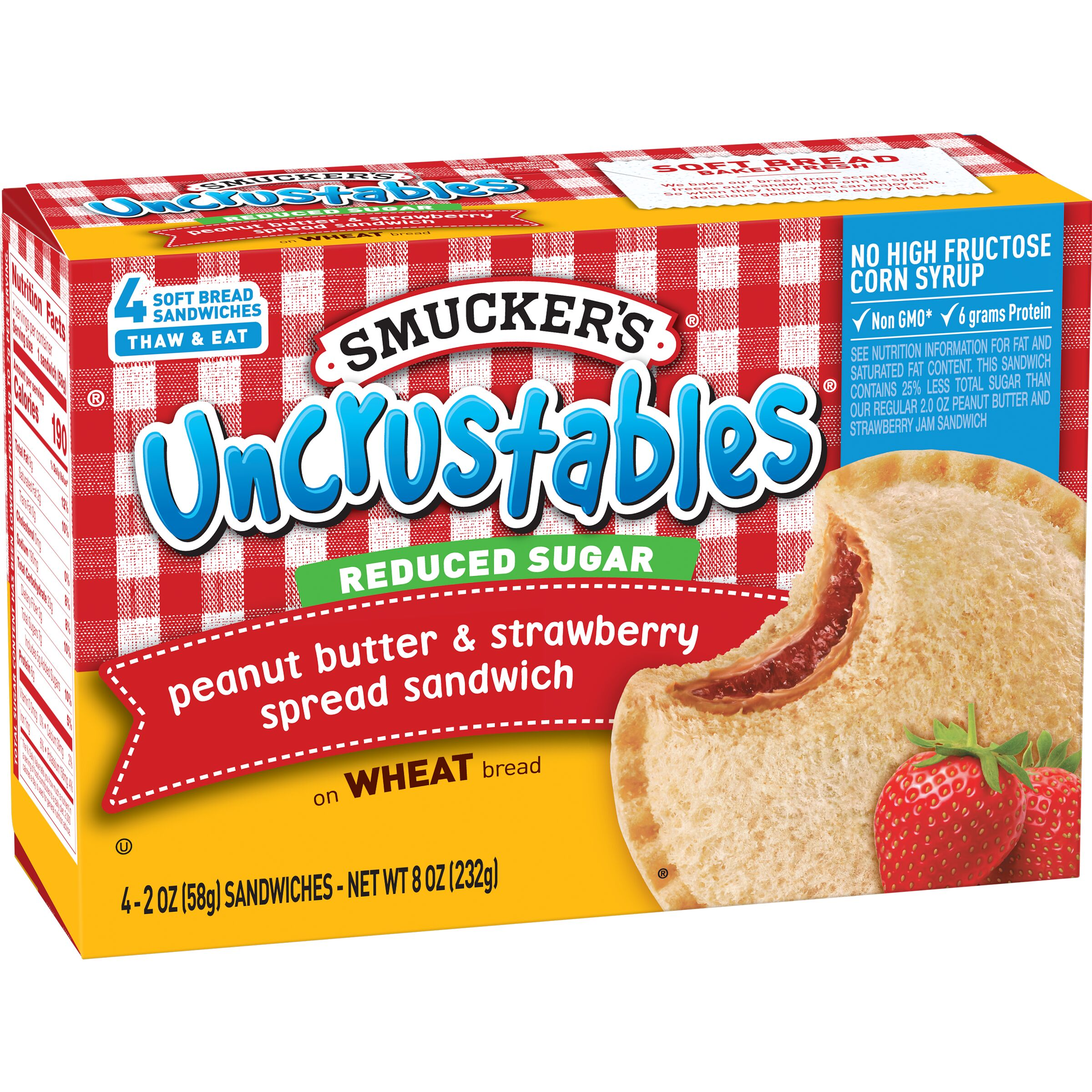 Smucker's Uncrustables Reduced Sugar Peanut Butter & Strawberry Spread Sandwich on Whole Wheat