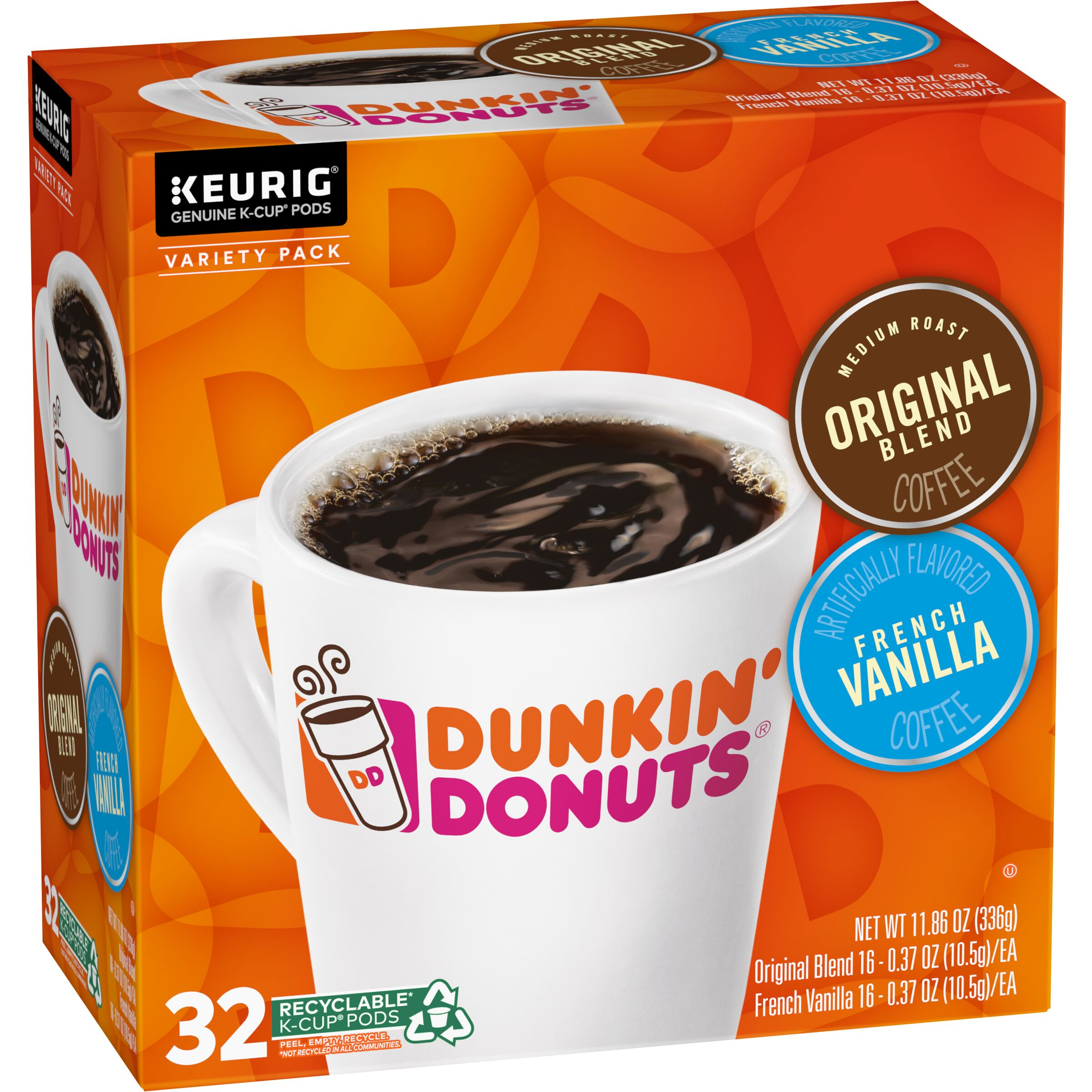 Dunkin' Donuts<sup>®</sup>  Original Blend & French Vanilla Variety Pack K-Cup® Pods, 32 Count