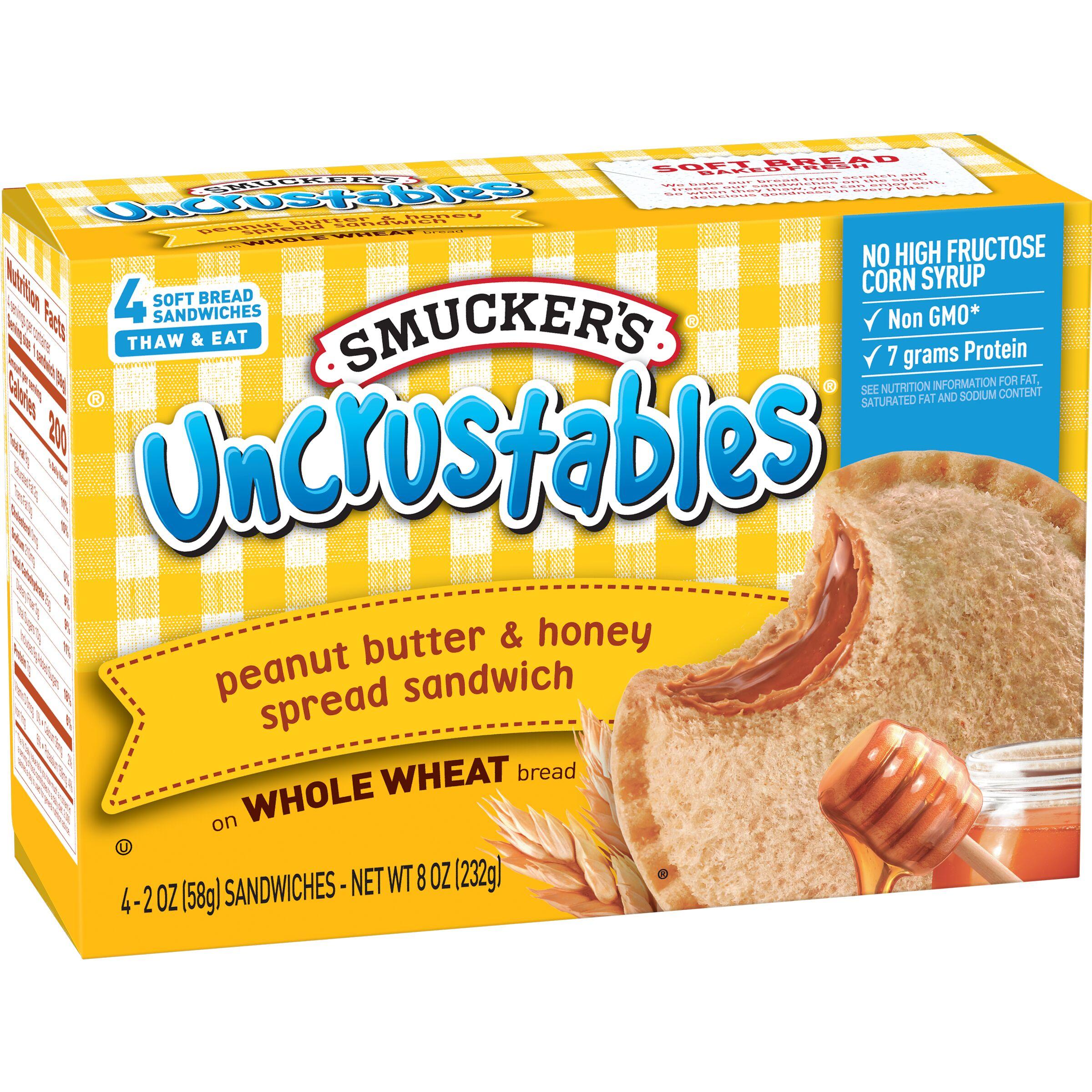Smucker's Uncrustables Peanut Butter & Honey Spread Sandwich on Whole Wheat