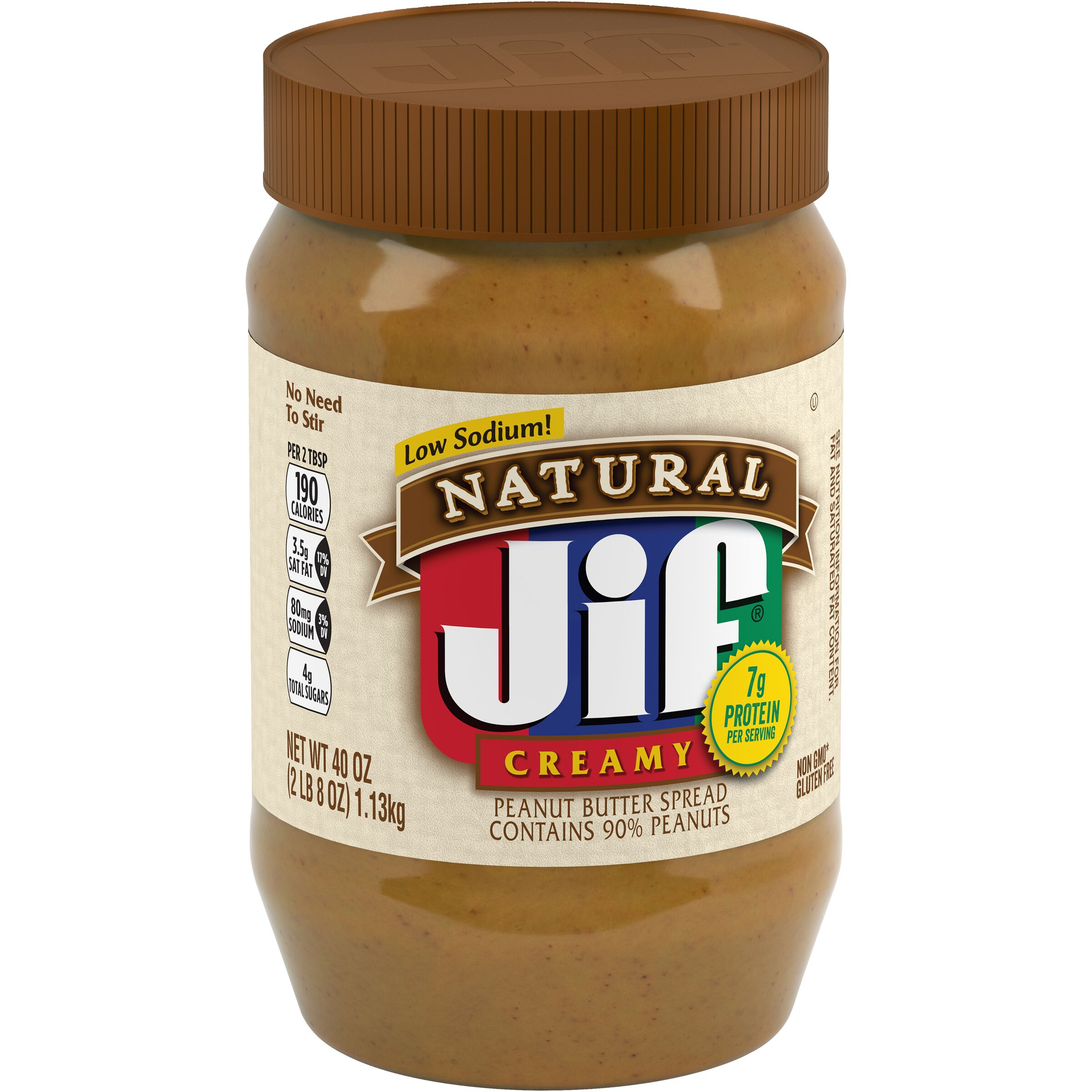 Jif<sup>®</sup> Natural Creamy Peanut Butter Spread Contains 90% Peanuts
