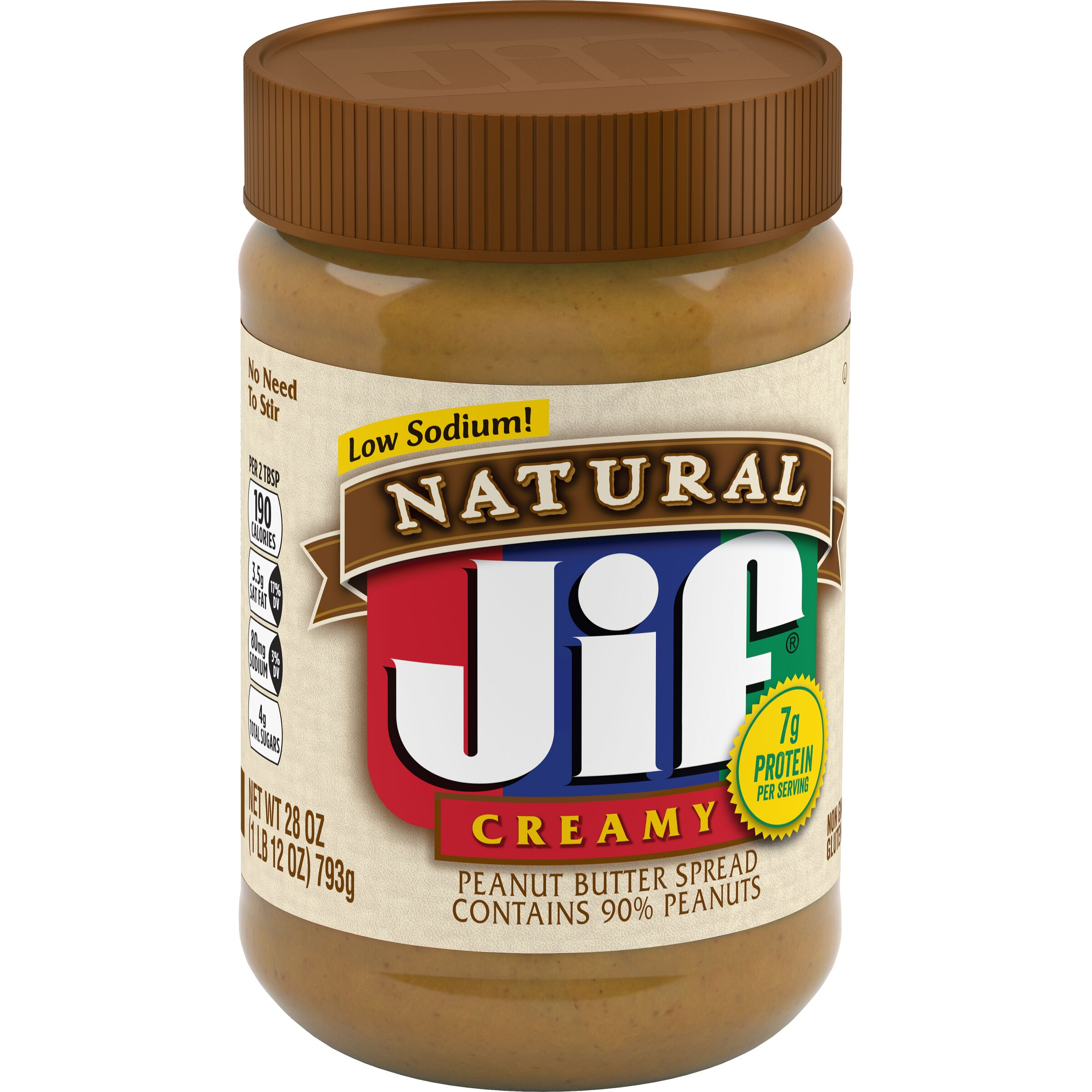 Jif<sup>&reg;</sup> Natural Natural Creamy Peanut Butter Spread Contains 90% Peanuts